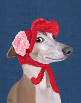 Greyhound with Red Woolly Hat