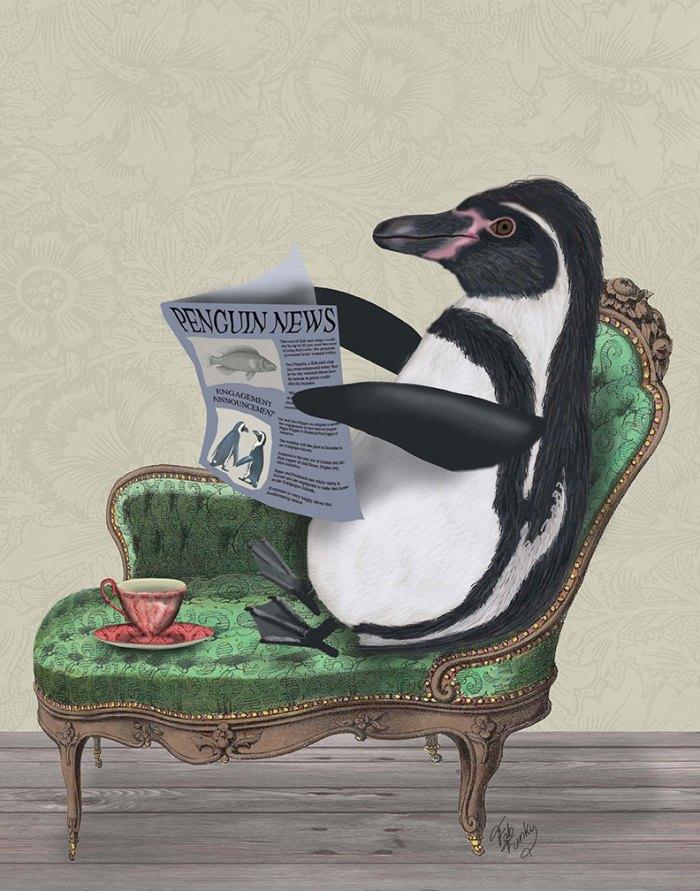 Penguin Reading Newspaper