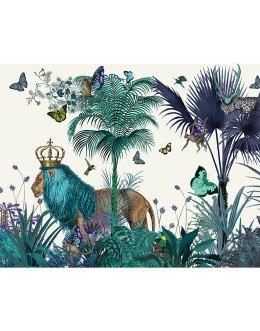 Blue Lion in Tropical Jungle