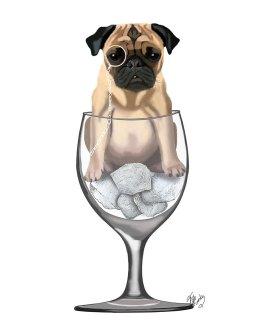 Pug in Wine Glass