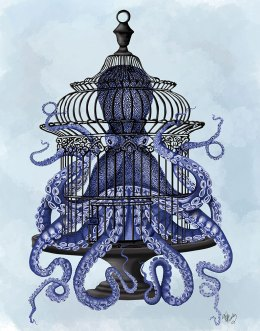 Blue Octopus in Cage