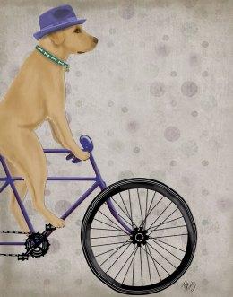 Labrador Yellow on Bicycle