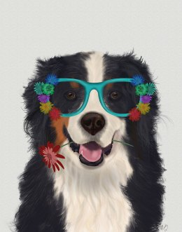 Bernese and Flower Glasses
