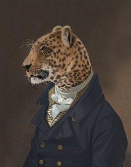 Leopard in Blue Jacket