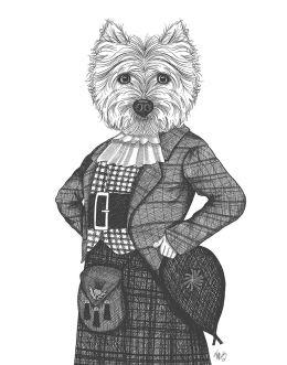 Portrait of Westie Dog In Kilt