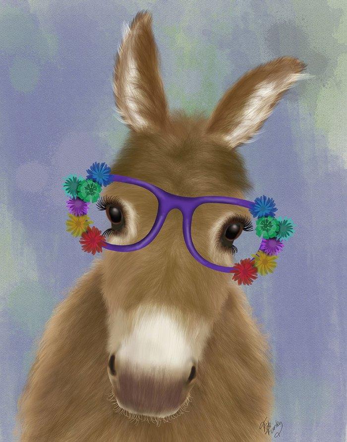 Donkey Purple Flower Glasses