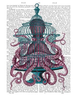 Pink Octopus in Cage