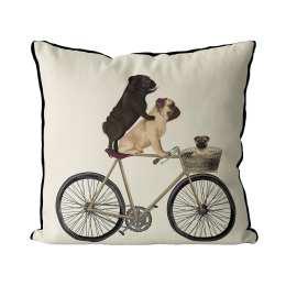 Pugs on Bicycle - Cream