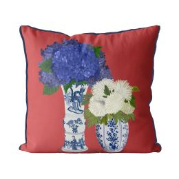 Chinoiserie Flower Duo 3 on Red