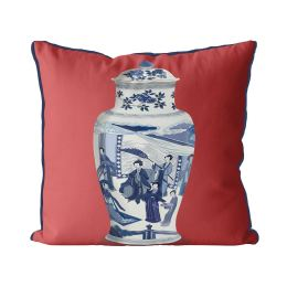 Chinoiserie Vase Queen on Red