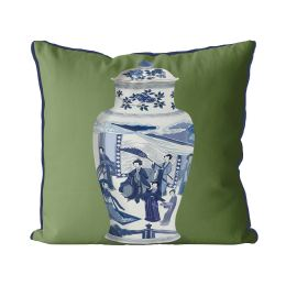 Chinoiserie Vase Queen on Green