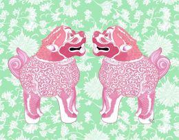 Foo Dog Twins Pink and Green Chinoiserie Art Print