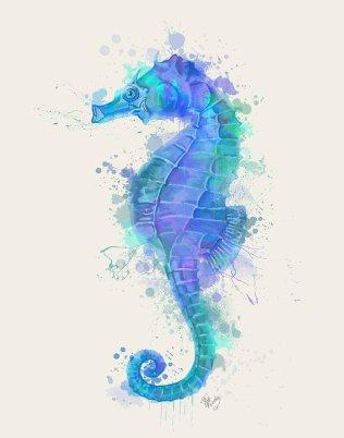 Seahorse Rainbow Splash Blue