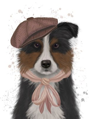 Border Collie Hat and Pink Scarf