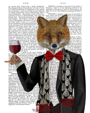 Fox in Black Jacket with Wine