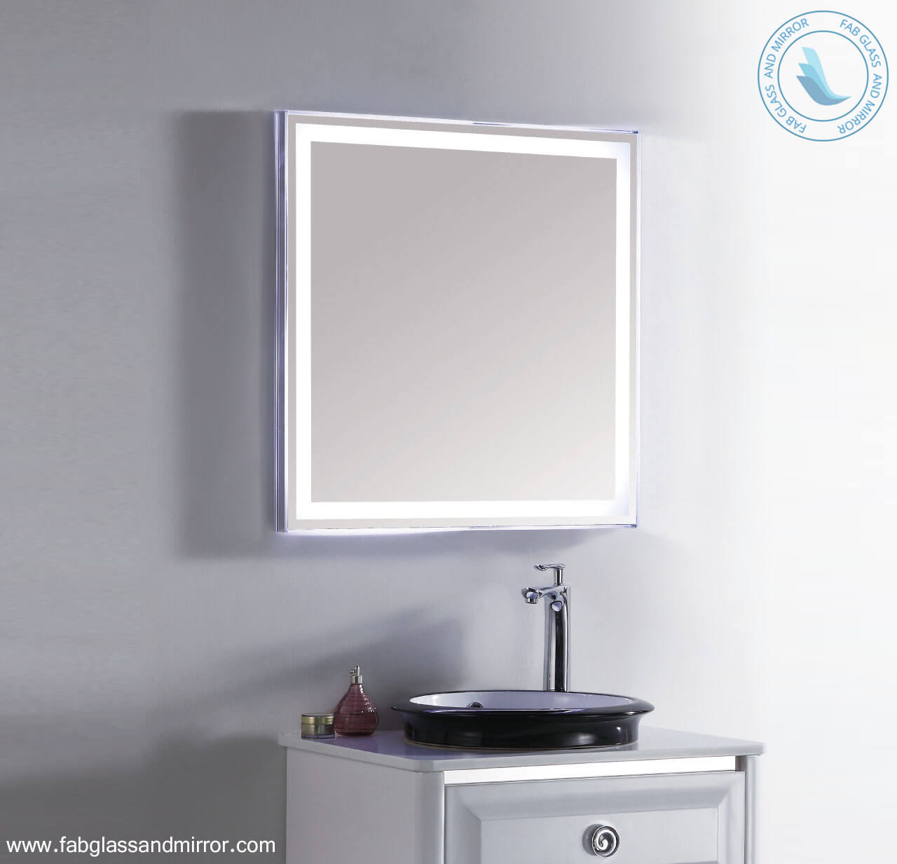 27X28 inch Bathroom LED Lighted Wall Mounted Vanity Mirror