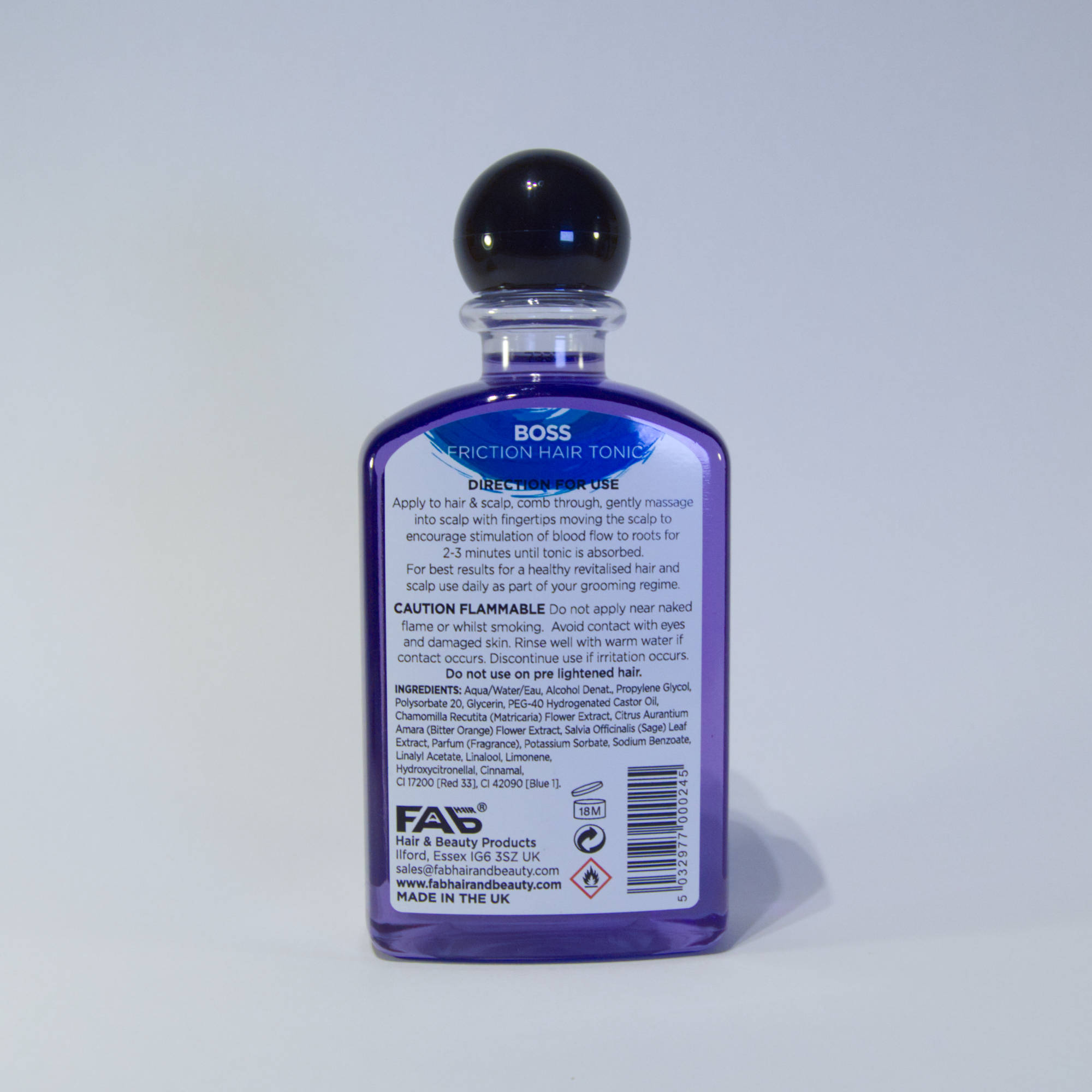 250ml bottle of Boss flavoured FAB friction hair tonic (rear view)