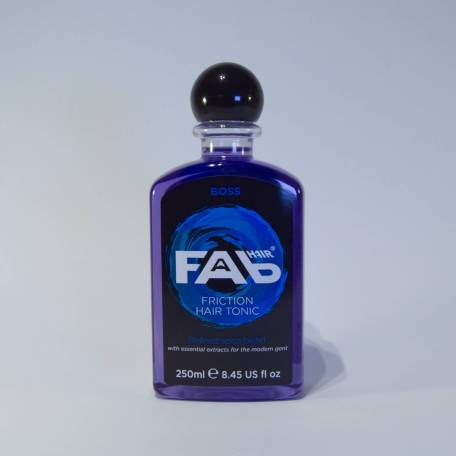 250ml bottle of Boss flavoured FAB friction hair tonic