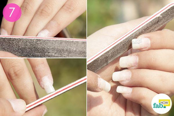 File The Base And Tips Of Acrylic Nails