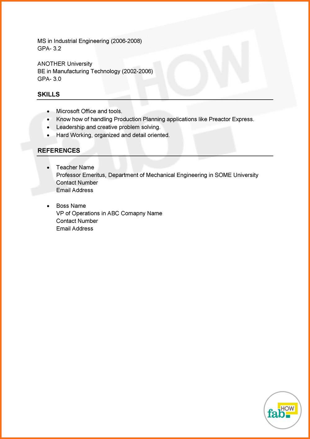Download Chronological Resume Sample In Pdf