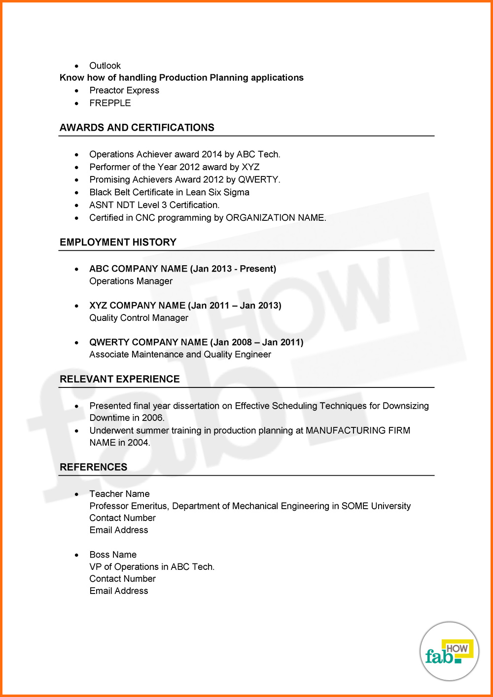 resume two references