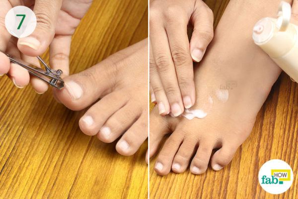 Trim your toe nails and moisturize your feet