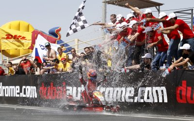 Fabienne Lanz victorious with team Batelco in opening round of 24hr Karting Championship