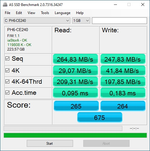 SSD LiteOn PH6 CE240 AS SSD Benchmark