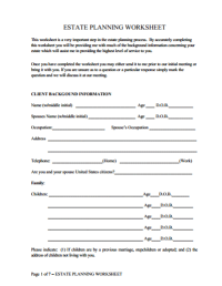 Estate Planning Worksheet  James F. Taylor