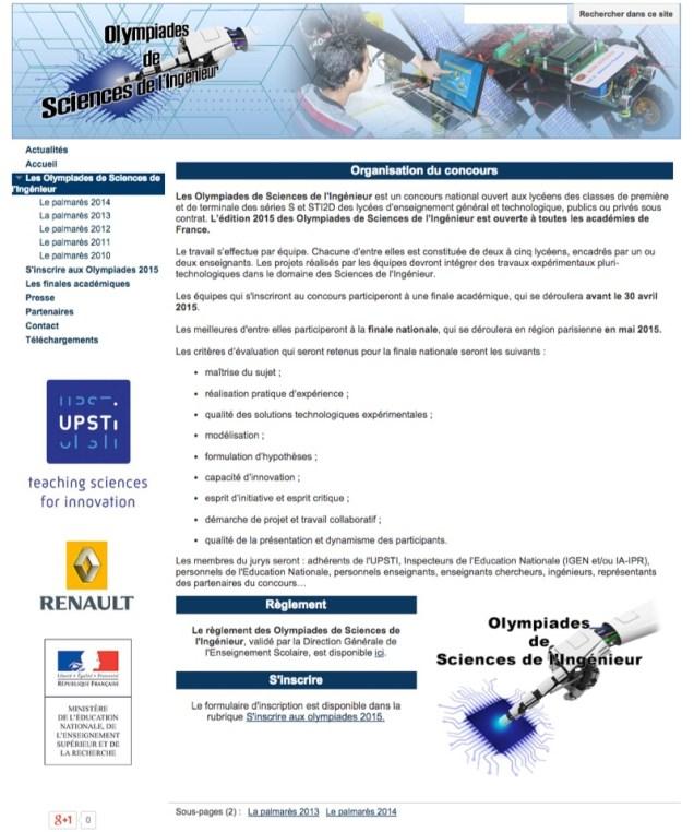 Site internet des olympiades de sciences de l Ingenieur olympiades de si