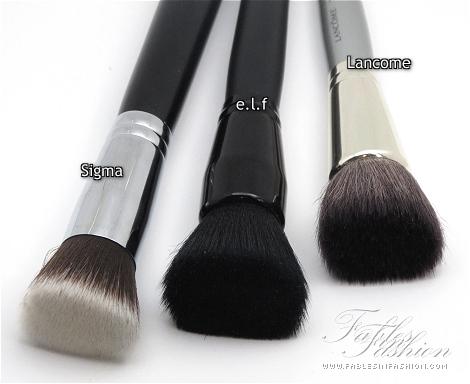 Sigma, e.l.f, Lancome Flat Top Brush Comparison