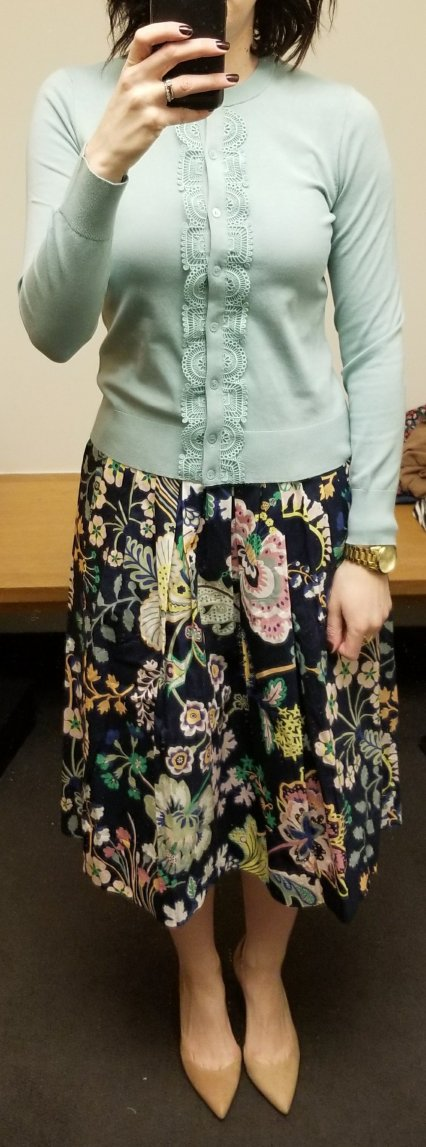 ead116948 I'm wearing a medium in the cardigan and a size 6 in the skirt, both of  which were good. I may have been able to size down in the skirt, ...