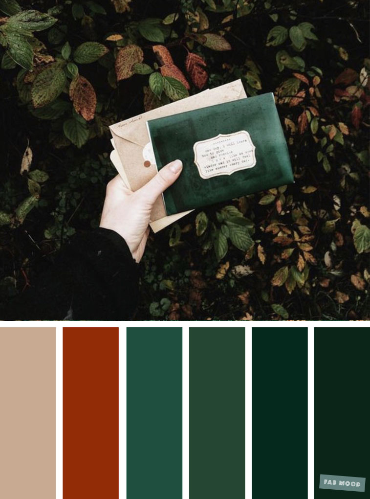 Autumn green  burnt orange color scheme  Fabmood