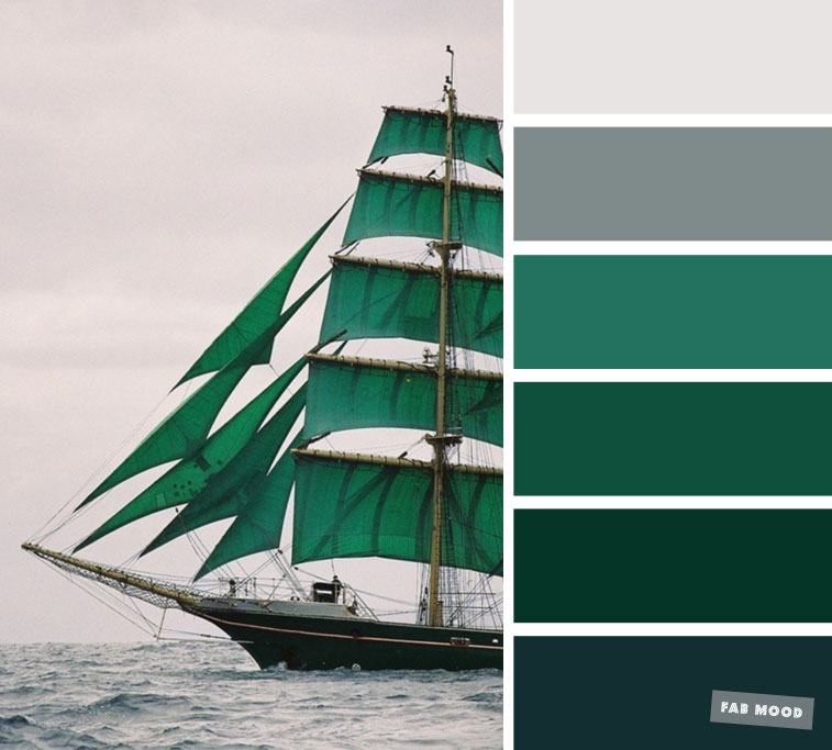 emerald green and grey