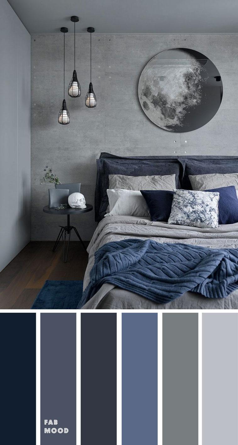 Grey And Dark Blue Bedroom Color Scheme Grey Bedroom Color Ideas