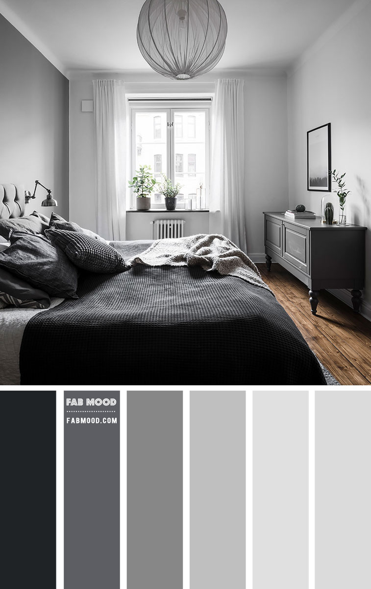 Black And Shades Of Grey Bedroom Color Scheme