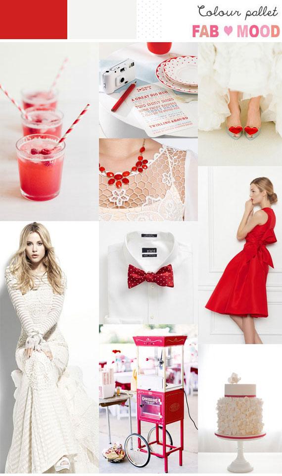 Poppy Red  White Inspiration Board 1  Fab Mood  Wedding