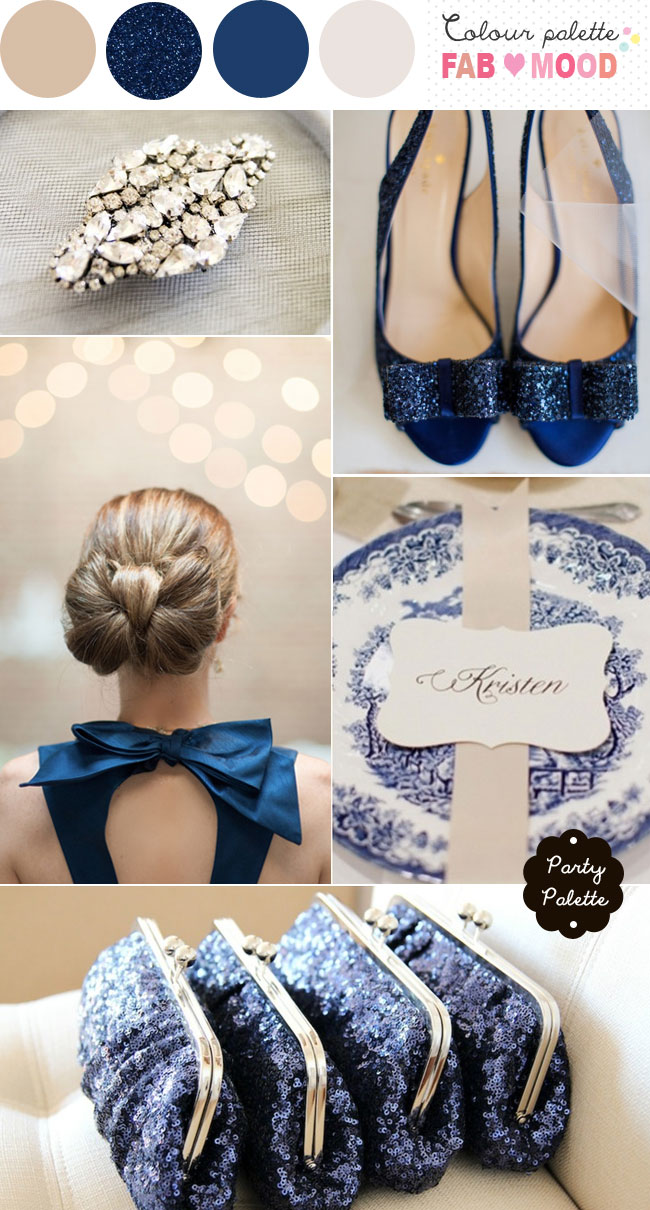 Navy blue and beige wedding colors ideas