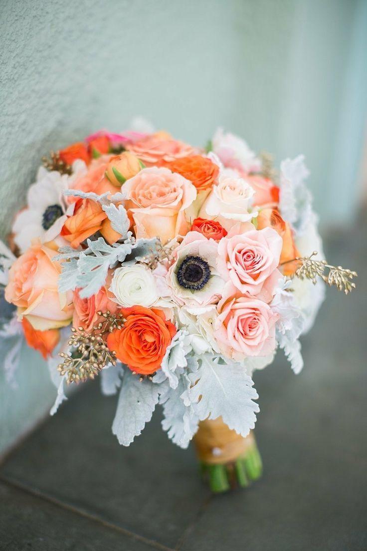 8 Grey and peach wedding bouquetspeach wedding bridal bouquet