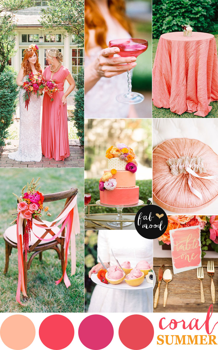 coral wedding color combos  color schemes for summer