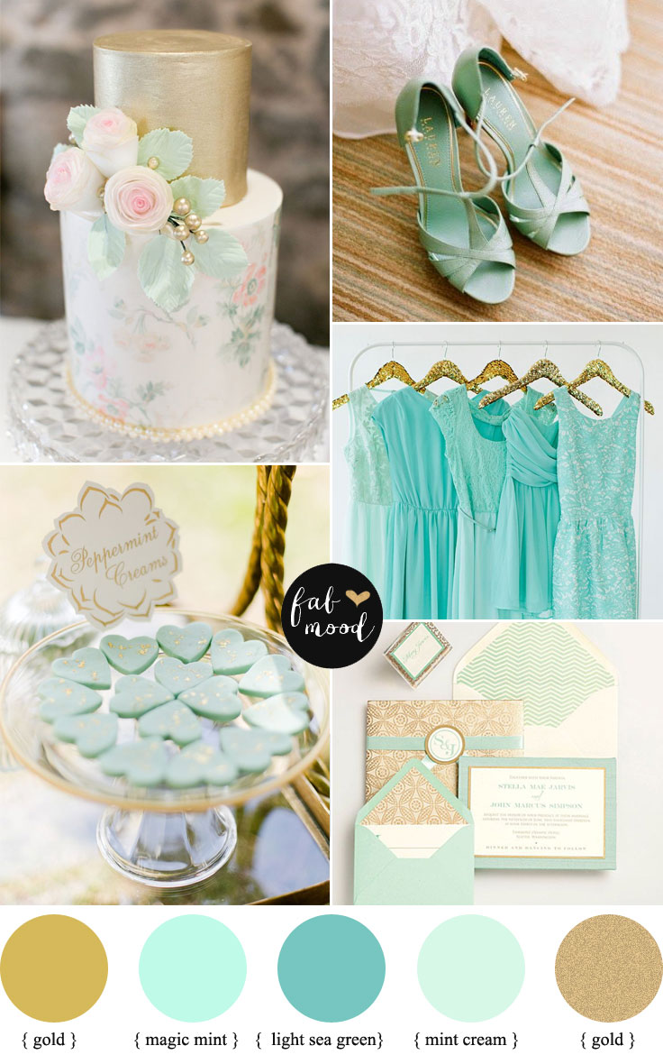 Shades of mint and gold wedding
