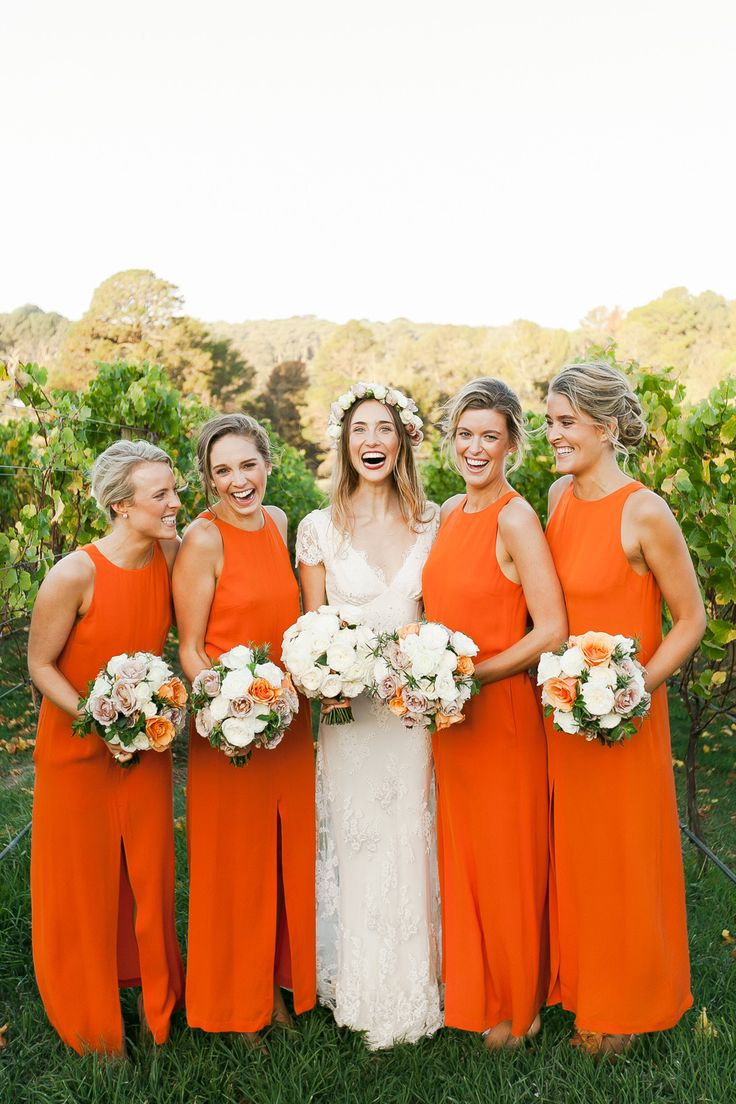 Long orange bridesmaid dresses | fabmood.com