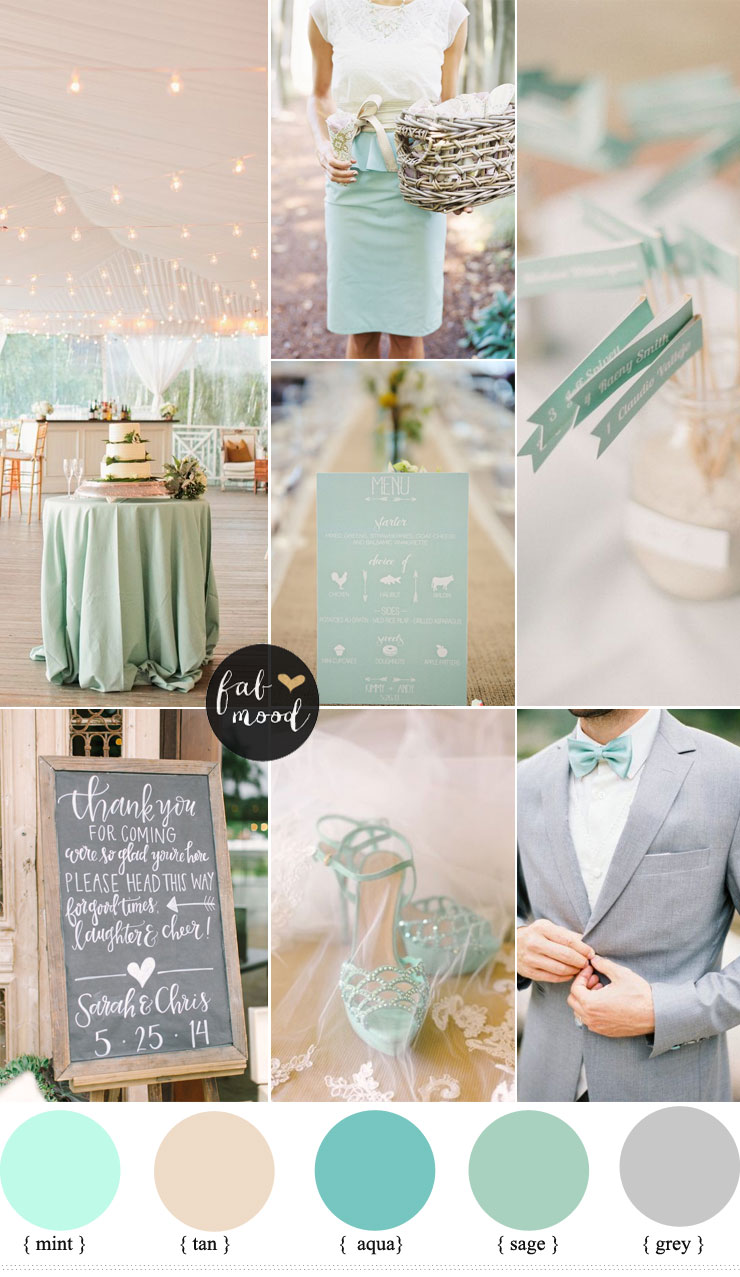mint and tan wedding