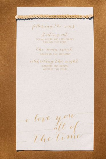 gold calligraphy wedding invite - Wedding in The Peach Orchard | Photography : marymargaretsmith.com | https://www.fabmood.com/a-cozy-fall-wedding-in-the-peach-orchard #peach #fallwedding