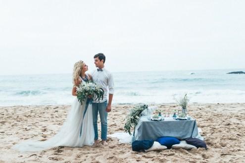 Ocean blue and shades of gray colour scheme   Organic + Ethereal Beachside Wedding Inspiration   Photography : pshefter.com   Read more #weddinginspiration on fabmood.com