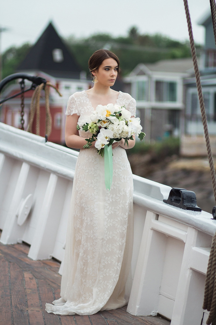 Nautical Wedding Inspiration and Gorgeous cap sleeves dress