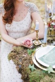 Woodland wedding table setting ideas - Enchanted Forest Fairytale Wedding in Shades of Autumn | fabmood.com