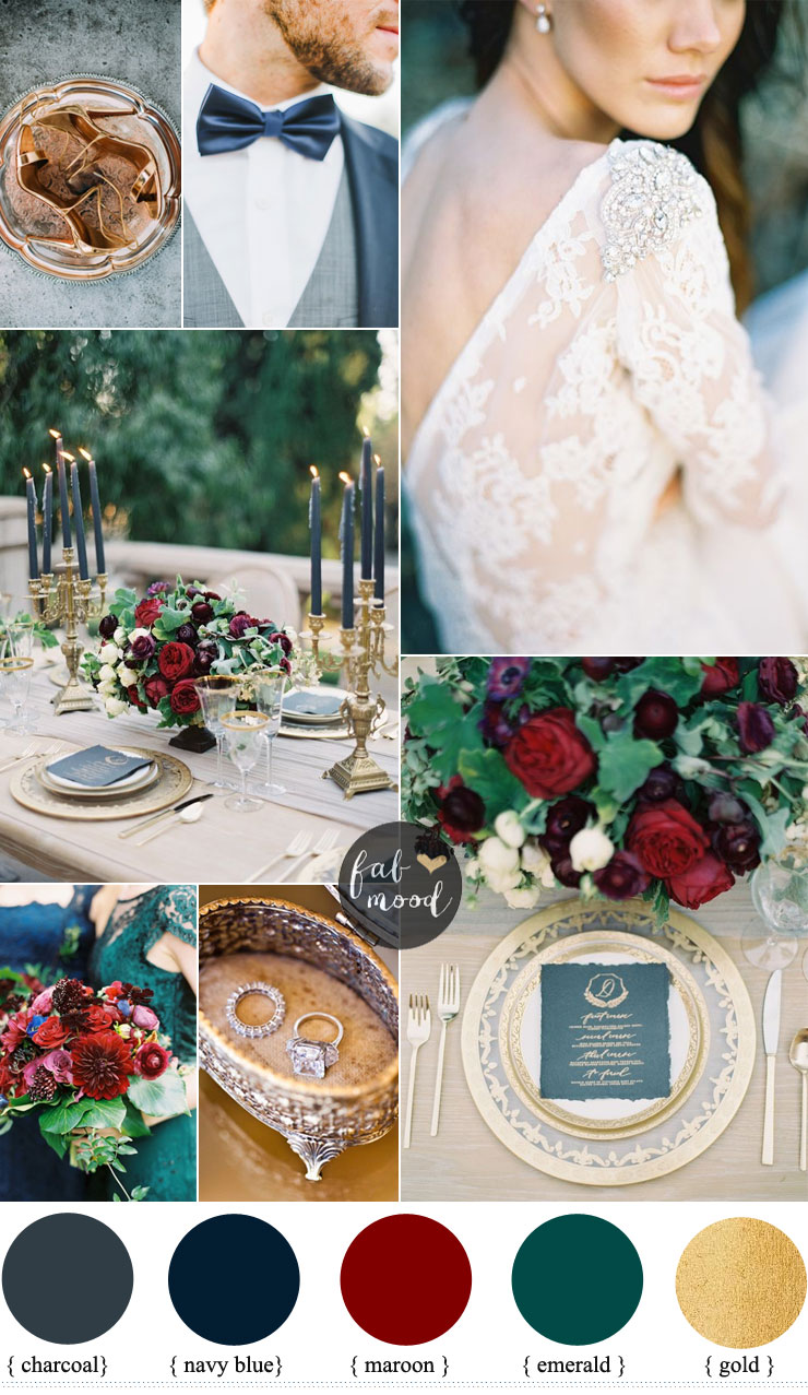 Navy blue and Maroon For a Romantic autumn wedding