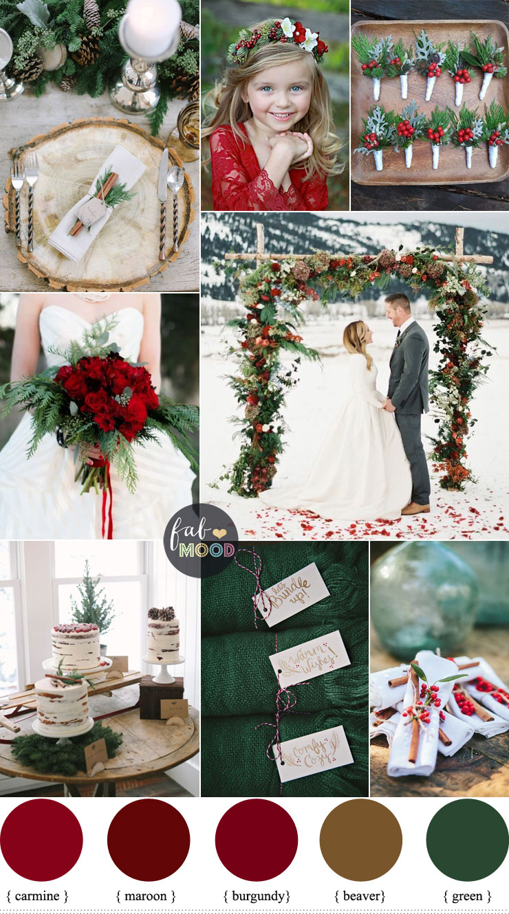 A Christmas Themed Wedding with the lush colours of deep green pine  pops of cranberry red 1