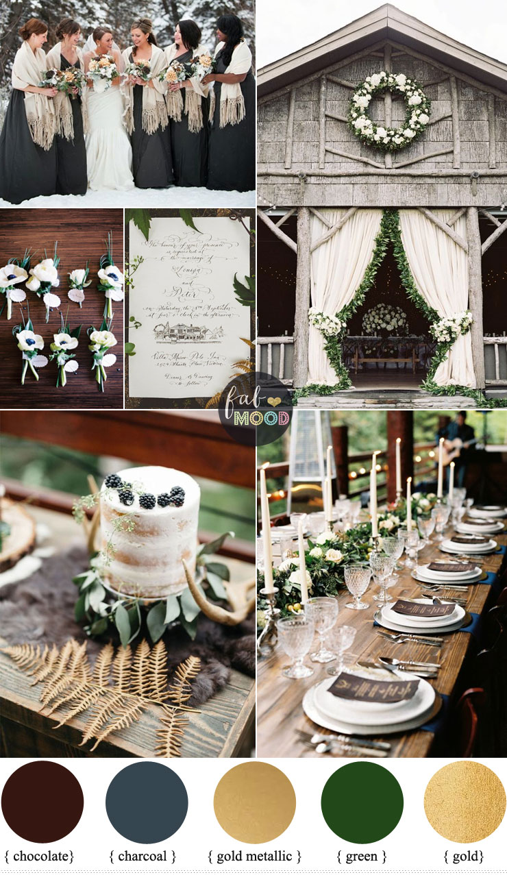 Rustic December Wedding in Charcoalgreenmuted gold